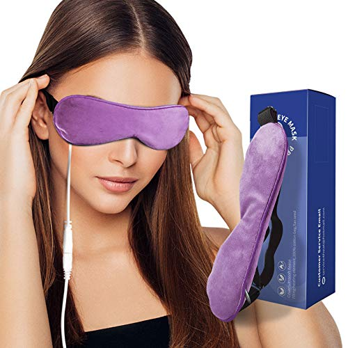 Heated Eye Mask Lavender Scented, Weighted Eye Compress with Natural Flaxseed & Adjustable Strap, Moist Heat for Men Women Dry Eyes, Blepharitis, Stye & Puffy Eyes (Lavender)