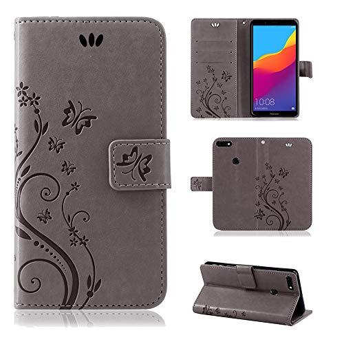 betterfon | Huawei Y7 2018 Flower Hülle Handytasche Schutzhülle Blumen Klapptasche Handyhülle Handy Schale für Huawei Honor 7C Grau
