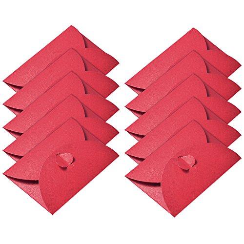 50 Piezas Mini Sobres de Papel Kraft Sobre de Tarjeta de Regalo con Cierre de Corazón para Tarjetas de Regalo de Navidad Artesanía de DIY de Día de San Valentín, Rojo