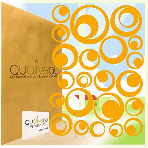 QUALIVEAU® 22 Retro Kreise Aufkleber zum Schutz vor Vogelschlag | Komplett – Set mit Verklebehilfe | Farbe: Orange