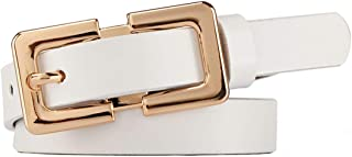LUKEEXIN Women's Single Prong Buckle Solid Color Casual Leather Belt (Color : White, Size : One Size)