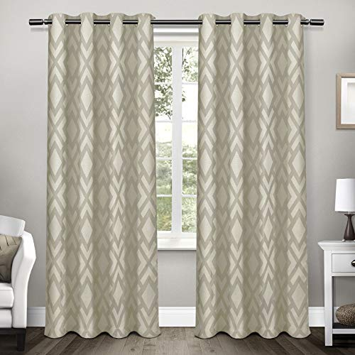 Exclusive Home Curtains Easton Jacquard Blackout Window Curtain Panel Pair with Grommet Top, 54x108, Taupe, 2 Piece
