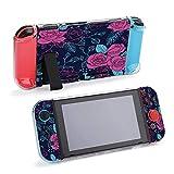 Patrón de flores sin costuras, Vector Floral compatible con consola Nintendo Switch y funda protectora Joy-Con, duradera y flexible absorción de golpes, protección contra caídas y arañazos Design37071