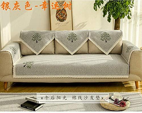 FSYGZJ Funda de sofá Funda de sofá Funda de sofá Antideslizante Protector, Chaise-Longue Cojín de sofá Universal de Cuatro Estaciones Toalla de sofá de 1/2/3/4 plazas Gris 1110 * 160 cm (43 * 63 PU