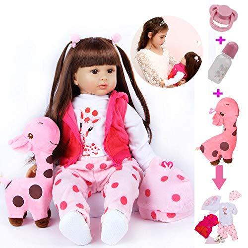 ZIYIUI 24 Pulgadas 60 cm Muñecos Bebé Reborn Niña Silicona Suave Vinilo Vida Real Hecho a Mano Cuerpo Completo Realista Maniquí Mejores Pelo Largo Reborn Dolls
