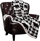 Sherpa Fleece Blanket Throws,Polar Bear Animal Black Buffalo Check Plaid Soft Bed Blanket Cozy Luxury Blanket 40'x50',Fuzzy Thick Reversible Warm Microfiber Plush Throw Blanket for Couch Bed Sofa