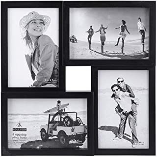 Malden 4x6 4-Opening Matted Collage Picture Frame, Displays Four, Black