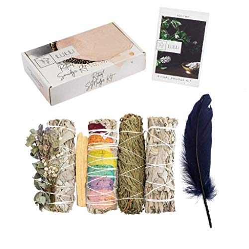 Lulli Ritual Sage Smudge Kit - Pack of 4 Smudge Sticks for Cleansing Negative Energy with Feather, Palo Santo & Guide Book - White Sage, Cedar, Lavender- Complete Home Smudging Meditation Supplies