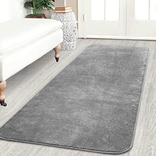 Frabe Teppiche Wohnzimmer,60x160cm Hochflor Teppiche für Schlafzimmer Kinderzimmer Esszimmer, Teppiche Läufer Bodenmatte rutschfeste Unterseite(Grau)