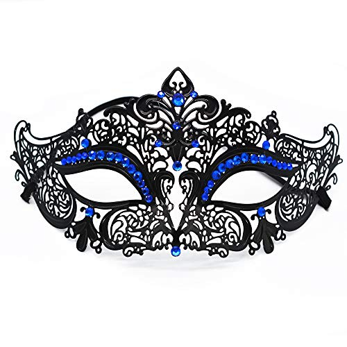 SUMOTTAM Women Masquerade Mask Luxury Laser Cut Ultralight Metal Mask Shiny Rhinestone Venetian Mask Halloween Party Ball Mask (Black (Blue Stones))