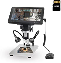 7 inch LCD Digital Microscope 1080P HD Screen with 32GB SD Card Video Camera Coin Microscope 1200X Magnification with Remo...