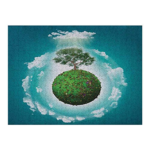 Homesonne Jigsaw Grassy Globe World with Plant Clouds in Air Science Fiction Mother Earth Artwork Art Large Size Jigsaw Puzzle Toy Best Gift for Adults and Kids Green Blue White - 1000 Pieces