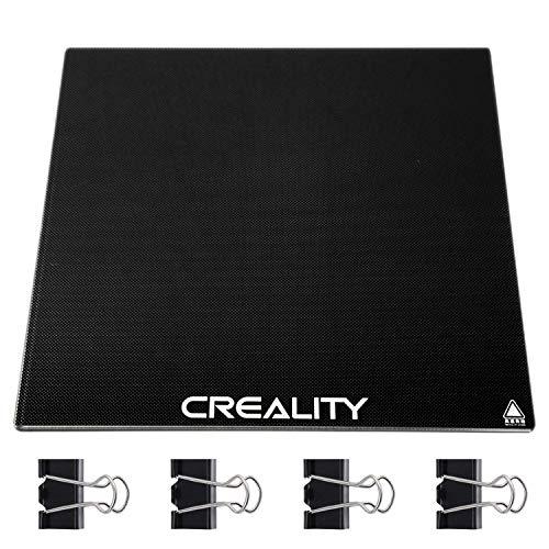 Glasplatte für Creality Ender 3, TEHEO 3D Drucker Plattform Upgrade Druckbett Glass Bed hochtemperaturbeständiges Heizbett-235x235x4mm Schwarz