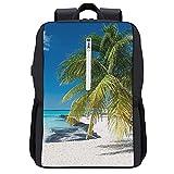 GKGYGZL Mochila de viaje,Coconut Palm en Caribbean Beach Cancún México,Bolsa para computadora de negocios antirrobo delgada con puerto de carga USB