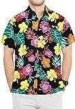 LA LEELA botón Camisa Hawaiana de los Hombres de Manga Corta hacia Abajo Estampado Floral Hawaiana 3XL-Pecho Contorno (in cms):152-162 Halloween Negro_AA181