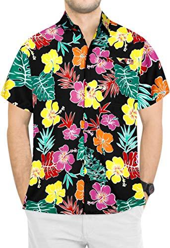 LA LEELA botón Camisa Hawaiana de los Hombres de Manga Cort