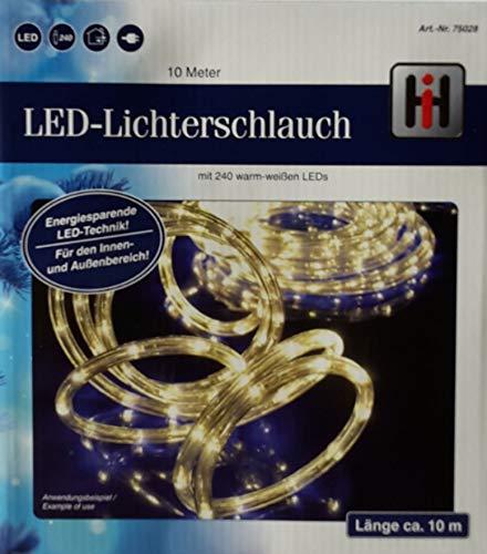HI LED Lichterschlauch Lichtschlauch 10m warmweiss mit 240LEDs für aussen und innen 75028