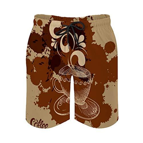 MayBlosom Pantalones cortos de playa para hombre, taza de café, de secado rápido, trajes de baño casuales hawaianos, trajes de baño con elástico