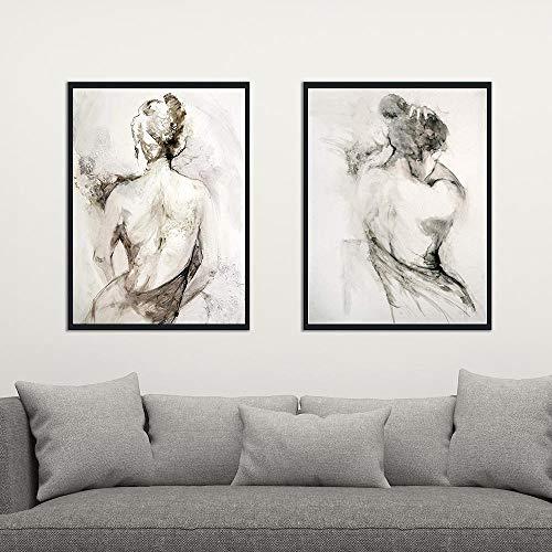 AWEZDJ Resumeno Negro Blanco Mujer Sexy Desnudo Espalda Pintura sobre Lienzo Carteles e Impresiones escandinavo Pared Arte Imagen habitación 42x62cmx2 sin Marco