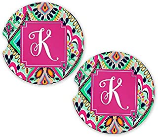 Monogrammed Car Coasters | Initial K | Christmas Gift | 2.56