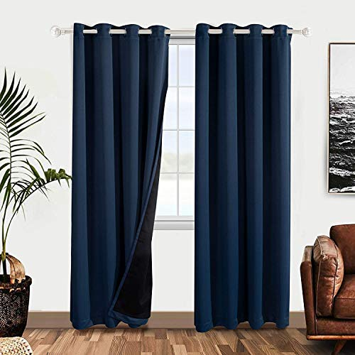 WONTEX 100% Thermal Blackout Curtains for Bedroom – Winter Insulating Window Curtain Panels, Noise Reducing and Sun Blocking Lined Grommet Curtains for Living Room, Navy, 52 x 84 inch, Set of 2