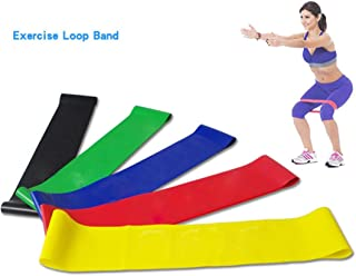 Iusun Sport Resistance Loop Exercise Bands for Home Workout, Gym Fitness, Pilates, Training, Rehab, Yoga, Physical Therapy(Random Color)
