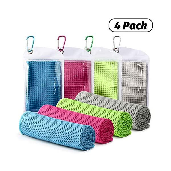 Famiry 4 Packs Cooling Towel (40″x 12″), Ice Towel, Soft Breathable Chilly Towel, Microfiber Towel for Yoga, Sport, Running, Gym, Workout,Camping, Fitness, Workout & More Activities