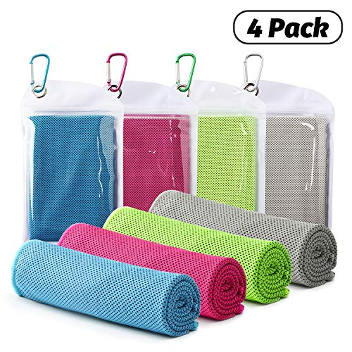 Famiry 4 Packs Cooling Towel (40'x 12'), Ice Towel, Soft Breathable Chilly Towel, Microfiber Towel for Yoga, Sport, Running, Gym, Workout,Camping, Fitness, Workout & More Activities