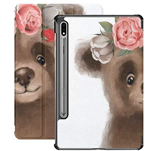 Funda Galaxy Tablet S7 Plus de 12,4 Pulgadas 2020 con Soporte para bolígrafo S, Linda Guirnalda Floral de Oso Dibujado a Mano, Funda Protectora Delgada con Soporte para Samsung