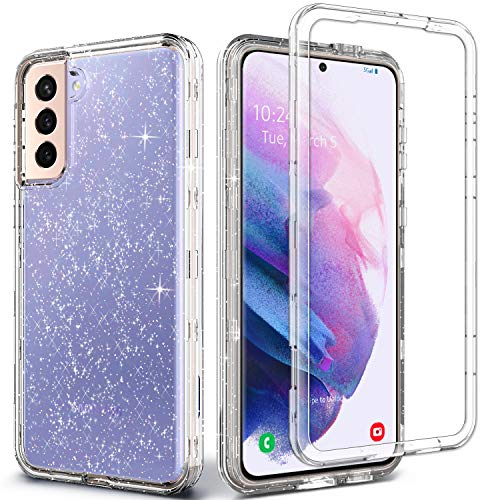 Coolwee Crystal Glitter Full Protective Case for Galaxy S21 Heavy Duty Hybrid 3 in 1 Rugged Shockproof Women Girls Transparent for Samsung Galaxy S21 6.2 inch Shiny Clear Bling Sparkle