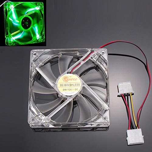 Quad Verde Caja De La Computadora PC Luz De Neón Claro 120Mm 4-LED del Ventilador De Refrigeración, Mod 120 * 120 * 25 Mm Fácil Instalado Ventilador CPU Cooler,1500 RPM