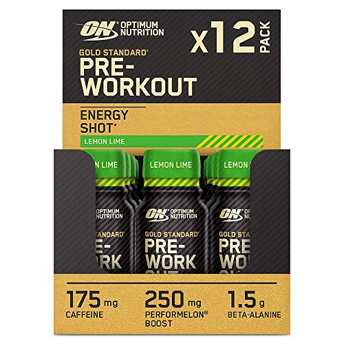 Optimum Nutrition Gold Standard Pre-Workout Shot, Food Supplement with Beta Alanine, Caffeine and Vitamin B6 and B12, Lemon Lime, 12-Pack, 12 x 60 ml