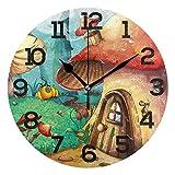 Fantastic Fairy Reloj de Pared Redondo de casa de Setas de Bosque de Dibujos Animados, PVC silencioso sin tictac para decoración del hogar, Sala de Estar, Dormitorio, Cocina, Escuela, Oficina