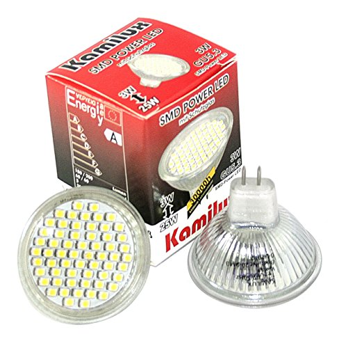 3er Set GU10 10er SMD LED Leuchtmittel 12V 3 Watt = 25 Watt GU5,3 MR16 Abstrahlwinkel: ca. 110° Lichtfarbe Warmweiß