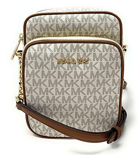 Michael Kors Jet Set Travel Signature PVC Medium Logo Chain Crossbody Flight Bag (Vanilla)