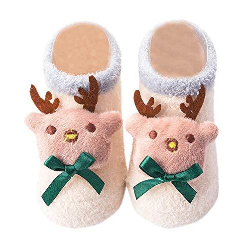 ProperLI bébé Chaussettes Antidérapant infantiles en tissu chaud Motif d'Arbre de noël santa bell et cerf pour noël