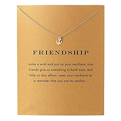 LANG XUAN Friendship Anchor Compass Necklace Good Luck Elephant Pendant Chain Necklace with Message Card Gift Card
