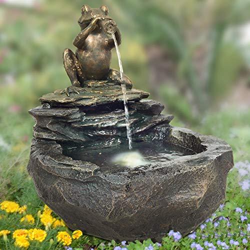 Gartenbrunnen DURSTIGER FROSCH mit LED-Licht 230V ZIERBRUNNEN VOGELBAD WASSERFALL GARTENLEUCHTE TEICHPUMPE - SPRINGBRUNNEN WASSERSPIEL für Garten, Gartenteich, Terrasse, Teich, Balkon