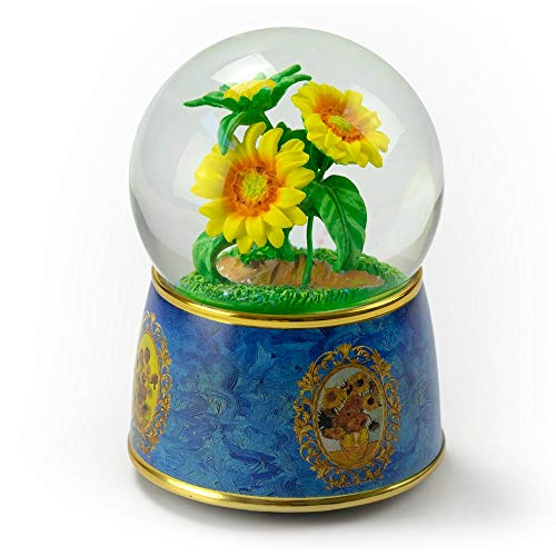 "A Tribute to Van Gogh's ""Sunflowers"" 18 Note Musical Water Globe - Many Songs to Choose - Three Coins in The Fountain"