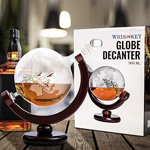 Whisiskey® Whiskey Karaffe - Globus - Whisky Karaffe Set - 900 ml - Geschenk für Männer und Frauen - Inkl. 9 Whisky-Steine und Schenktülle - 11