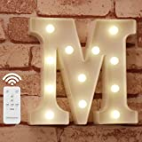Pooqla Light Up Letters with Remote LED Marquee Letter Lights Alphabet Signs Timer Dimmable for Wall Table Wedding Home Party Bar Christmas Decoration, Letter M