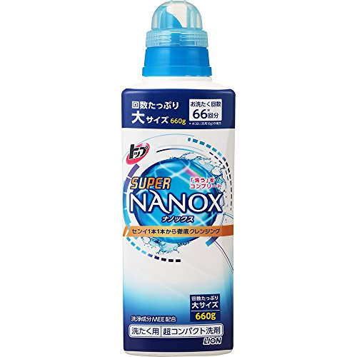 【大容量】トップ スーパーナノックス 蛍光剤無配合 洗濯洗剤 液体 本体大ボトル 660g