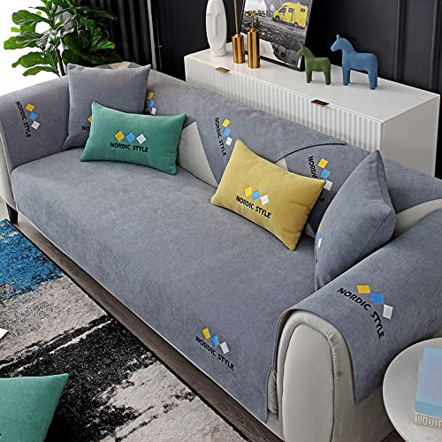Fsogasilttlv Protector Cubierta para sofá Gris Oscuro 90 * 160 cm, Funda de sofá de Chenilla Bordada de Color sólido para salón, Funda de Toalla de cojín de sofá Universal