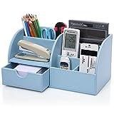 KINGFOM Büro Schreibtisch Organizer Ordnungssystem Tisch Organizer PU Leder Stiftehalter Stiftebox Stifteköcher Multifunktionale Bürobedarf (Blau)