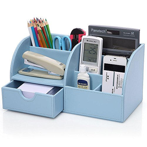KINGFOM PU Leather Office Desk Organiser Tidy Pen Pencil Pots...