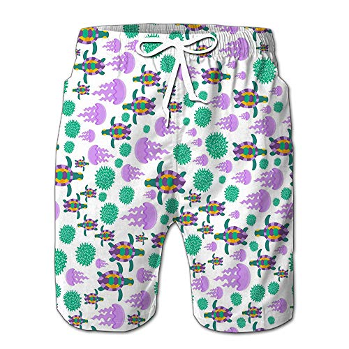 Mens Slim Fit Quick Dry Short Swim Trunks Cute Cartoon Turtles Jellyfishe Swimsuit Or Athletic Shorts Adults Boys M