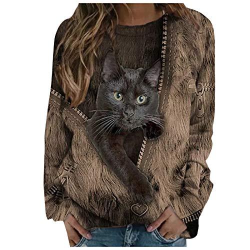 BuckerLer Sudadera para Mujer con Estampado de Gato Lindo con Diseño de Cremallera de Imitación, Blusa Casual de Manga Larga con Cuello Redondo 2021 (Caqui, L)