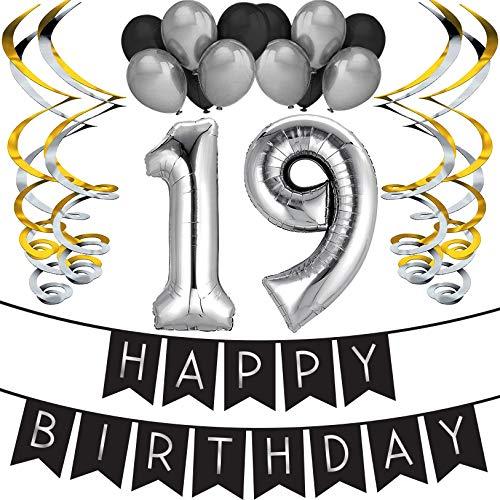 Sterling James Co. 19. Geburtstag Party Set – Schwarz & Silber Happy Birthday Girlande, Poms und Spiralgirlanden – Lustiges Geschenk Deko