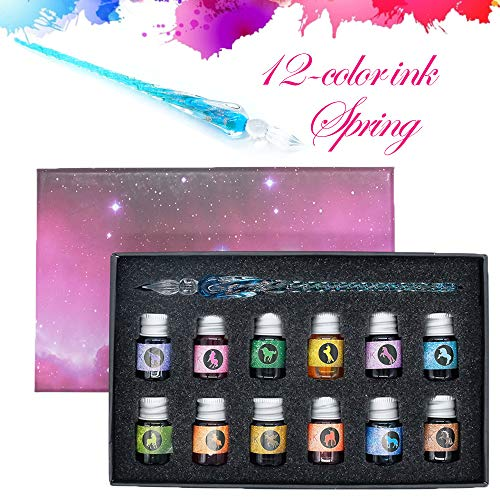 GCQUILLガラスディップペンインクセットレインボークリスタルガラスペン、アート、ライティング、署名、書道、装飾用の12種類のインクJP-13