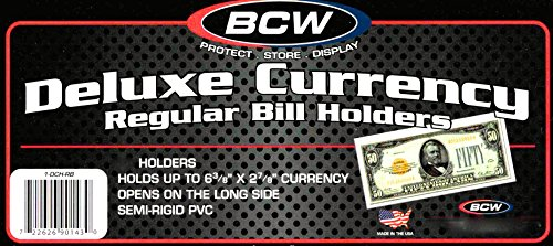 BCW Deluxe Regular Bill Currency Holder – 25 ct